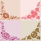 Flowers on a beige background. Set of 4 floral background. Flowers on a background Stock Photos