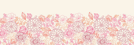 Flowers and berries horizontal seamless pattern Royalty Free Stock Photos