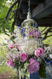 Flowers in bird cage Stock Images