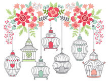 Flowers with Bird Cages Stock Photography