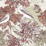 Flowers with bird illustration Royalty Free Stock Images