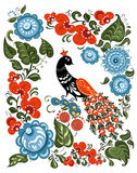 Flowers and bird in Russian traditional gorodetsky Stock Photos