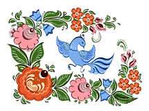 Flowers and bird in Russian traditional gorodetsky style Royalty Free Stock Image