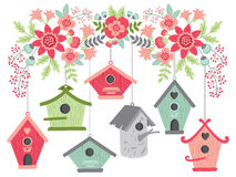 Flowers with Birdhouses Royalty Free Stock Photography