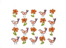 Flowers and birds. Lovely background expressing positivity and poetry Royalty Free Stock Photography