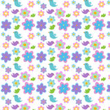 Flowers and birds. Pattern with flowers and birds royalty free illustration