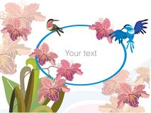 Flowers and birds. Vector drawing of background decorated with flowers and birds Royalty Free Stock Photography