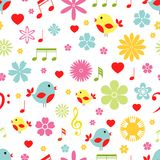 Flowers Birds And Music Notes Seamless Pattern Stock Image