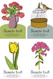 Flowers and birds design card. Hand drawing sketch Stock Photography