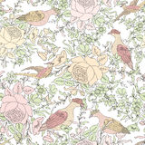 Flowers and birds. Floral background. Flower pattern. Royalty Free Stock Photos