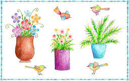 Flowers and Birds Icons. Colorful icons of flowers and birds made with watercolor crayons and pen Royalty Free Stock Photo