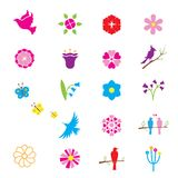 Flowers and birds icons. Vector flowers, birds on branches and butterflies. Elements for decoration and patterns Stock Images