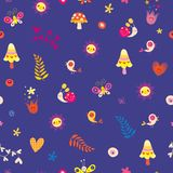 Flowers birds mushrooms butterflies snails hearts seamless pattern Stock Photography