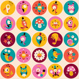 Flowers, birds, mushrooms & snails characters circles pattern. Flowers, birds, mushrooms & snails cute characters pattern Stock Images