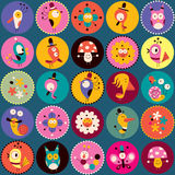 Flowers, birds, mushrooms & snails characters circles pattern. Flowers, birds, mushrooms & snails nature characters pattern Stock Photo