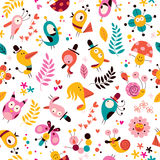 Flowers, birds, mushrooms & snails characters nature pattern Royalty Free Stock Photo