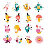 Flowers, birds, mushrooms & snails characters set Royalty Free Stock Image