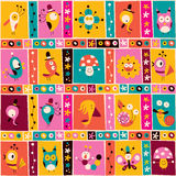 Flowers, birds, mushrooms & snails cute characters nature pattern Stock Image