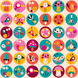 Flowers, birds, mushrooms & snails pattern Stock Images
