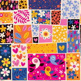 Flowers and birds pattern Stock Photography