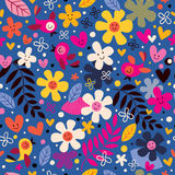 Flowers and birds pattern. Cute flowers and birds pattern illustration Stock Images