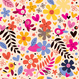 Flowers and birds pattern. Cute flowers and birds pattern illustration Royalty Free Stock Photography