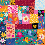 Flowers and birds pattern. Cute colorful flowers and birds pattern Stock Photo