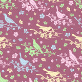 Flowers and birds seamless background Royalty Free Stock Photos