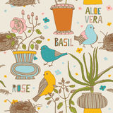 Flowers and birds seamless pattern Stock Photography