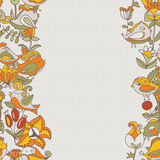 Flowers and birds seamless texture pattern border Stock Photography