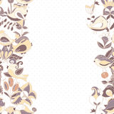 Flowers and birds seamless texture pattern border Royalty Free Stock Photography
