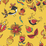 Flowers and birds seamless texture pattern Stock Images