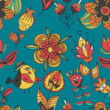 Flowers and birds seamless texture pattern Royalty Free Stock Image