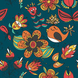 Flowers and birds seamless texture pattern Stock Photos