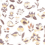 Flowers and birds seamless texture pattern Royalty Free Stock Images
