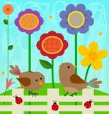 Flowers and Birds. Spring clip-art of two birds and ladybugs standing on a fence, and colorful flowers behind them. Eps10 Royalty Free Stock Images