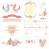 Flowers and birds wedding elements Stock Photo