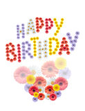 Flowers Birthday Greetings. Inscription Happy Birthday made from various color flowers on white background stock images
