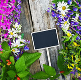 flowers and a black board for the text Royalty Free Stock Photo