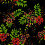 Flowers on black pattern. Seamless floral pattern with vintage style illustraion. Exotic garden flowers in beautiful arrangements,layered, on black background Stock Image