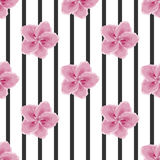 Flowers and black stripes, imitation of watercolor, seamless. Pattern, global color Stock Photography