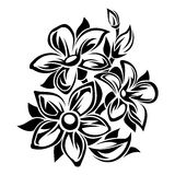 Flowers black and white ornament. Vector illustration. Stock Images