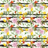 Flowers at black-white striped background. Repeating floral background. Watercolor with ink stripes vector illustration
