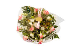 Flowers with blank lable Stock Image