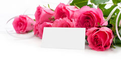 Flowers with a blank tag Stock Images