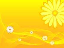 Flowers bloom in yellow. Illustration of flowers blooming in bright yellow background with fancy waves Stock Images