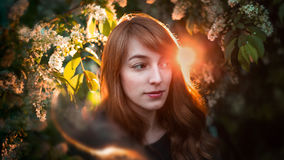 Flowers blooming and Red-haired girl looking at the camera. Royalty Free Stock Images