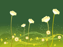 Flowers blooming in spring. Illustration of beautiful white flowers blooming in green background Stock Photo