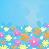 Flowers on blue background. Illustration of retro styled yellow, orange, pink and white flowers on blue background Royalty Free Stock Images