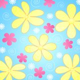 Flowers on blue background. Illustration of retro styled yellow, pink and white flowers on blue background Royalty Free Stock Photos